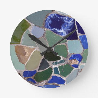 Antoni Gaudi Blue Mosaics Round Clock