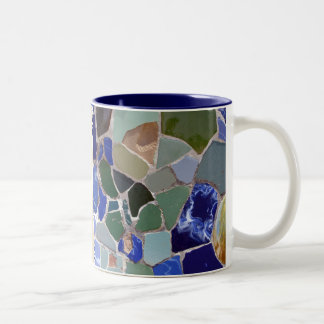 Antoni Gaudi Blue Mosaics Two-Tone Coffee Mug