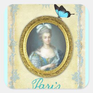 Antoniette y París Pegatina Cuadrada