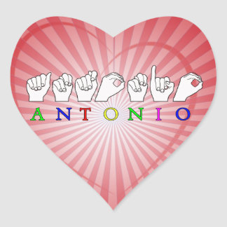 ANTONIO FINGERSPELLED ASL SIGN NAME MALE HEART STICKER
