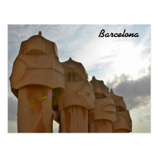 Antonio Gaudi chimney Post card, Barcelona