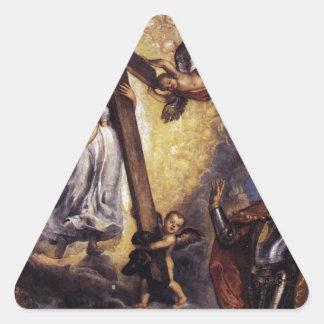 Antonio Grimani Kneeling Before the Faith Titian Triangle Sticker