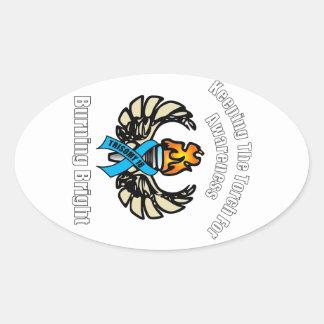 Antorcha del Trisomy 18 Pegatina De Ovaladas