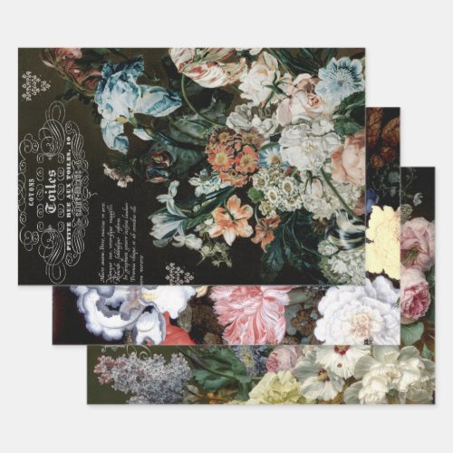 ANTQUE FLORALS HEAVY WEIGHT DECOUPAGE PRINTS WRAPPING PAPER SHEETS