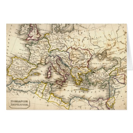 Antquie Map of Ancient Roman Greeting Card
