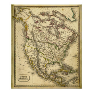 Antquie Map of North America Poster