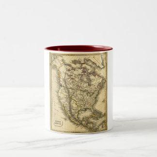Antquie Map of North America Two-Tone Mug