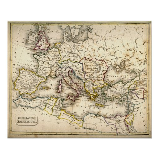 Antquie Map of the Ancient Roman Empire Print