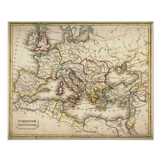 Antquie Map Of The Ancient Roman Empire Poster Zazzle Com
