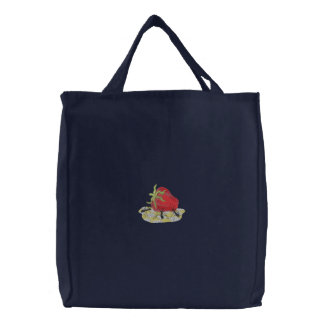 Ants And Strawberry Embroidered Tote Bag
