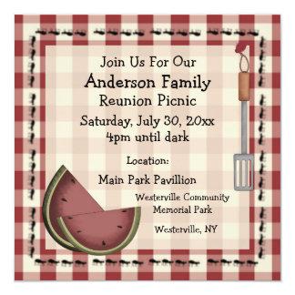"""Ants and Watermelon Summer Picnic Invitation 5.25"""" Square Invitation Card"""