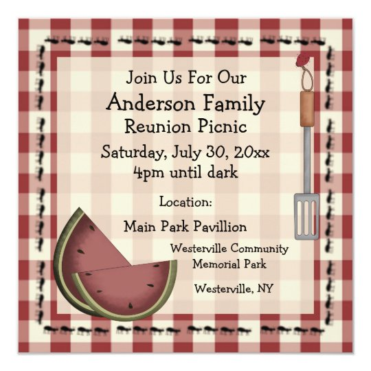 Ants And Watermelon Summer Picnic Invitation  ZazzleCom