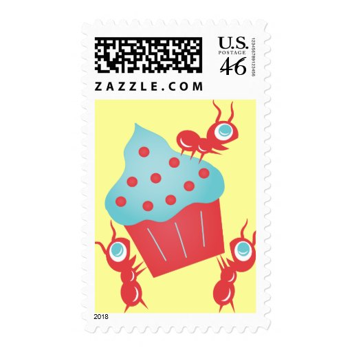 Ants Carrying a Cupcake Postage Stamps