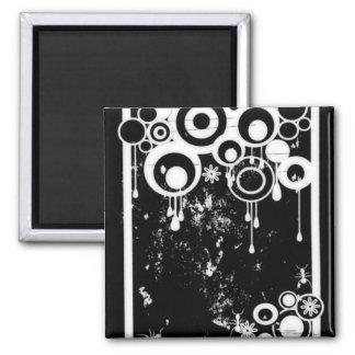 Ants & Circles - Black & White Negative Magnet