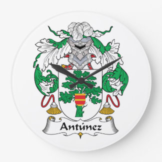 Antunez Family Crest Large Clock