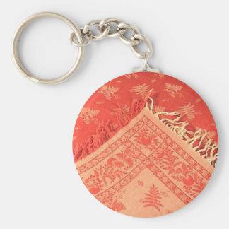 Antuque Turkey Red Linen Keychain