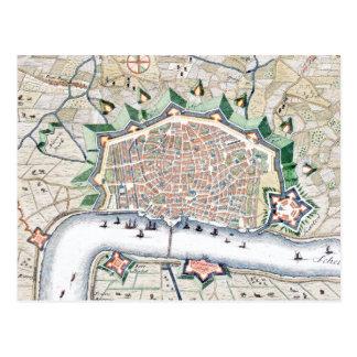 Antwerp Antwerpen - Belgium Antique Map Post Card
