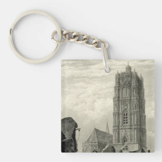 Antwerp Cathedral Spire Tower Vintage Landmark Single-Sided Square Acrylic Keychain