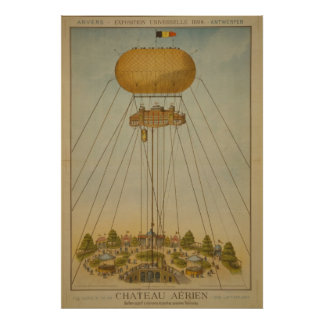 Antwerp Expo 1894 Air Castle Balloon vintage Posters
