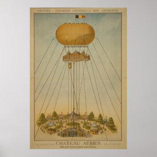 Antwerp Expo 1894 Air Castle Balloon vintage Poster