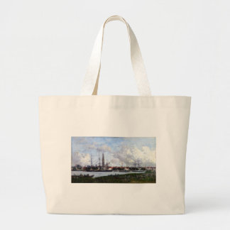 Antwerp, the Port by Eugene Boudin Large Tote Bag
