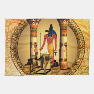 Anubis, ancient Egyptian god of the dead rituals Hand Towels