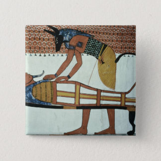 Anubis and a Mummy, from the Tomb of Sennedjem Button