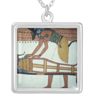 Anubis and a Mummy, from the Tomb of Sennedjem Silver Plated Necklace