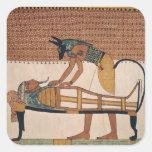 Anubis asiste a la momia de Sennedjem Pegatinas Cuadradases