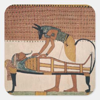 Anubis asiste a la momia de Sennedjem Pegatina Cuadrada