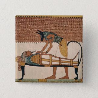Anubis attends Sennedjem's Mummy Pinback Button