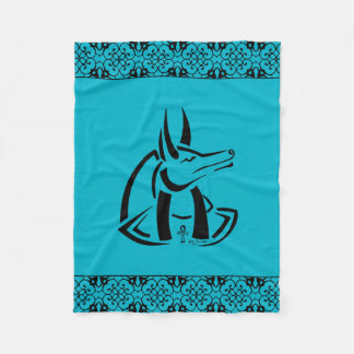 Anubis (Black) Fleece Blanket