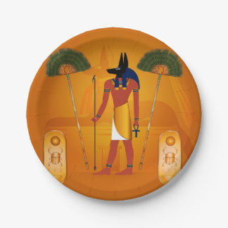 Anubis, egipcio antiguo platos de papel