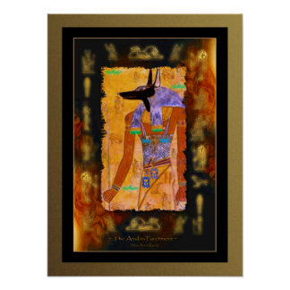 ANUBIS Egyptian Art on Papyrus effect Poster