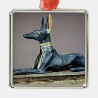 Anubis, Egyptian god of the dead from a chest Square Metal Christmas Ornament