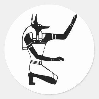 Anubis, jeroglífico egipcio etiqueta redonda