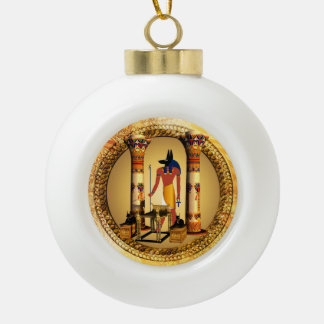Anubis on golden background ceramic ball christmas ornament