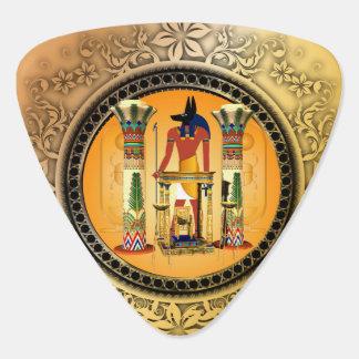 Anubis on golden background guitar pick