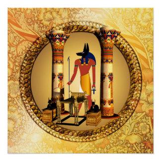 Anubis on golden background poster