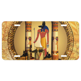 Anubis, the egyptian god license plate
