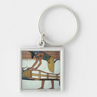 Anubis y una momia, de la tumba de Sennedjem Llavero Cuadrado Plateado
