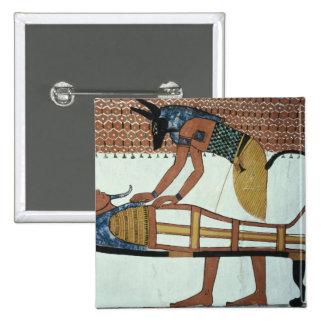 Anubis y una momia de la tumba de Sennedjem Pins