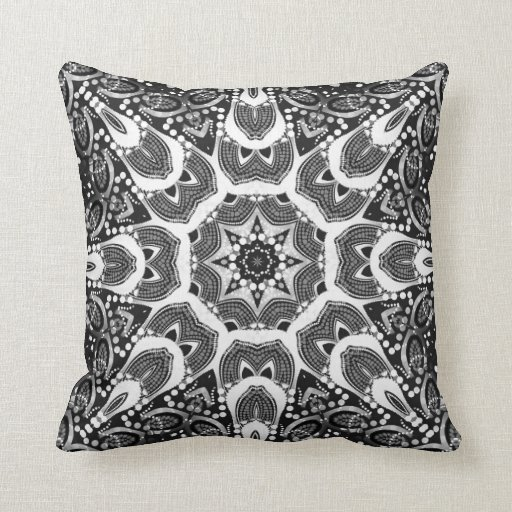 Anuli Tribal Star Black White Pattern Cushion