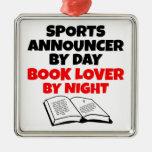 Anunciador de deportes del aficionado a los libros ornamento de navidad