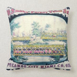 Anuncio 1868 del puente del vintage cojín