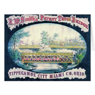 Anuncio 1868 del puente del vintage tarjeta de felicitación grande