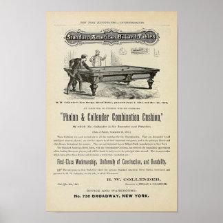Anuncio 1874 de las tablas de billar de la antigüe poster