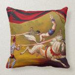 Anuncio 1875 del circo del vintage almohada