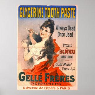 Anuncio 1889 de la crema dental del vintage poster