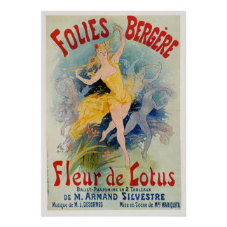 "Anuncio 1893 de Folies Bergère ""Fleur de Lotus"" Póster"